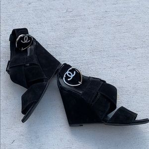 Chanel 7.5 / 6.5 7 Suede Wedge Heels Shoes Sandals